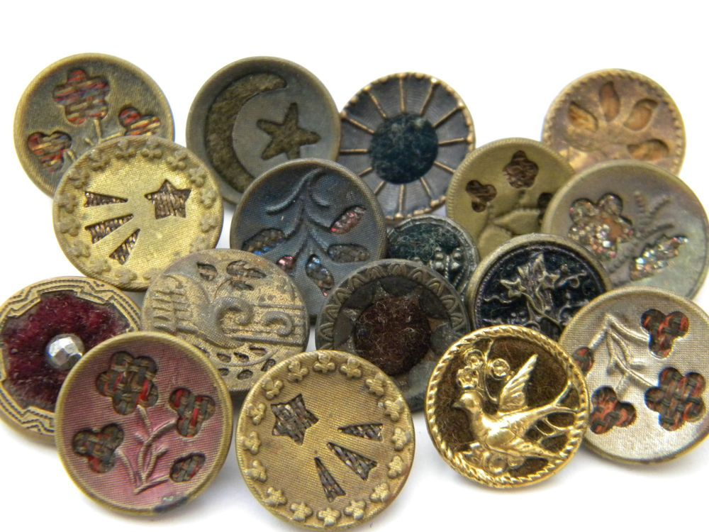 17 Antique Vintage metal buttons victorian old picture velvet perfume  flowers
