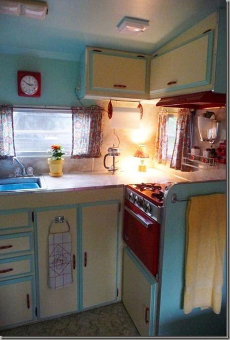 Vintage Camper Kitchen  |  http://cheneybaglady.blogspot.com/2012/03/thriftin-time-tuesdays.html