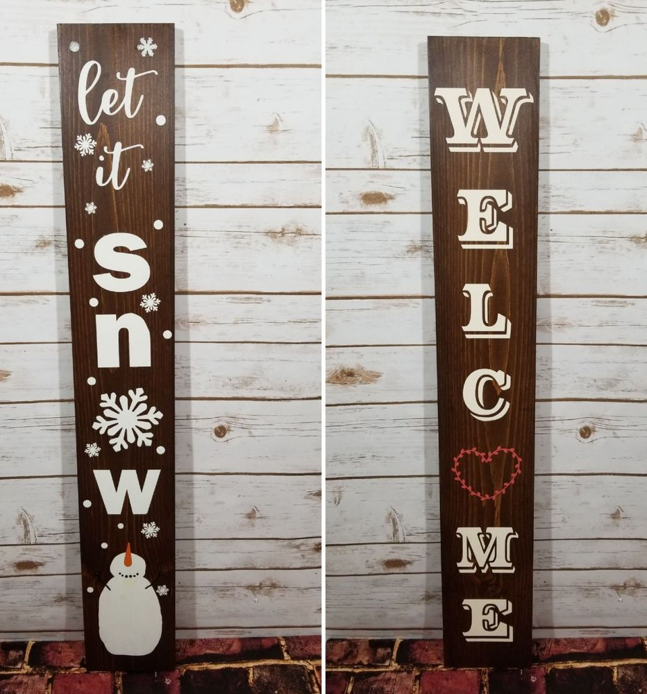 Rustic Reversible Porch Front Door Entry 3 Ft Tall Welcome Let It Snow Wood Sign Rusticprimi Christmas Decorations To Make Wood Signs Welcome Signs Front Door