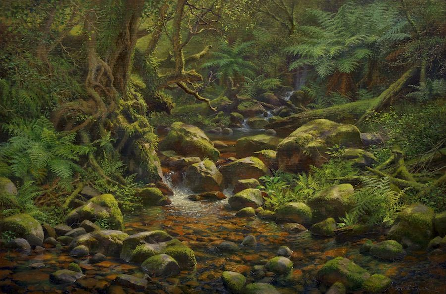 Oil Painting Of A Forest Stream Victoria Australia By Andrew Tischler Oil Painting Nature Landscape Art Landscape Paintings