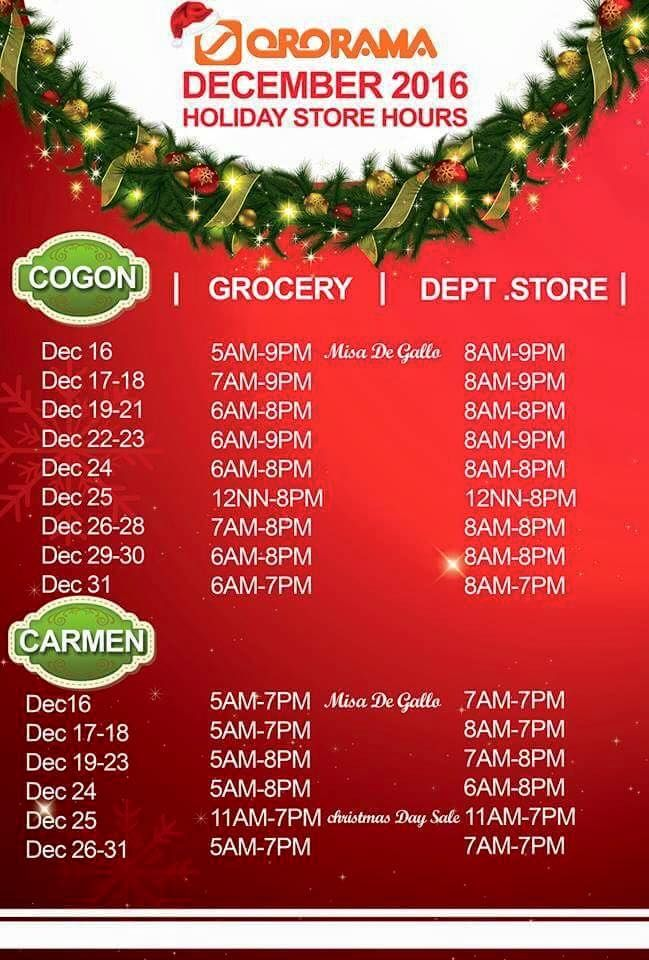 To our loyal customers, we announce the official store hours for the holiday season. Please take note. :)
