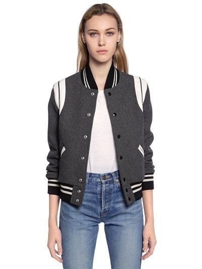 1286a111 SAINT LAURENT Wool Cloth & Leather Teddy Jacket, Grey. #saintlaurent ...