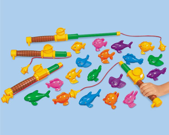 Magnetic fishing game filled the large kiddie pool in the for Fish games for toddlers