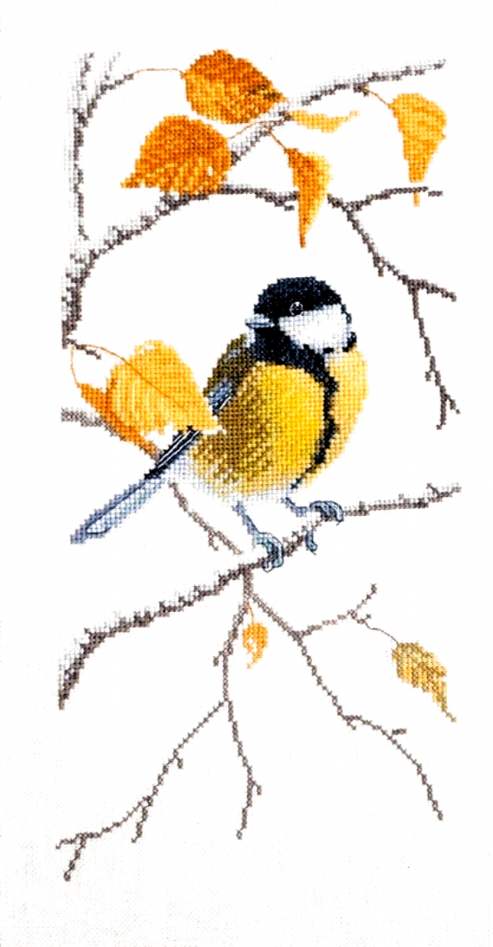 New Sealed Cross Stitch Embroidery Kit Tit Titmouse Little Bird Fall Autumn Embroidery by