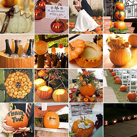 Great inspiration board for a fall wedding!  Love the pumpkins down the aisle!