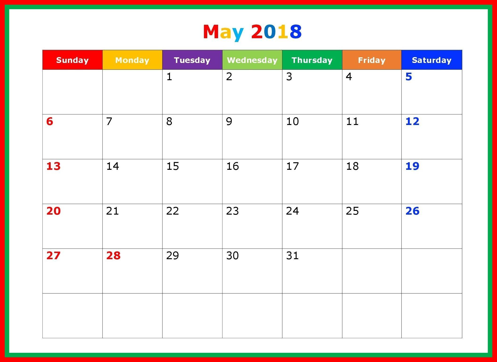 beautiful may 2018 editable calendar