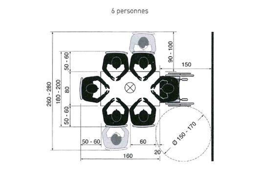 cuisine ou salle manger quel espace pr voir pour une table personnes repas et. Black Bedroom Furniture Sets. Home Design Ideas