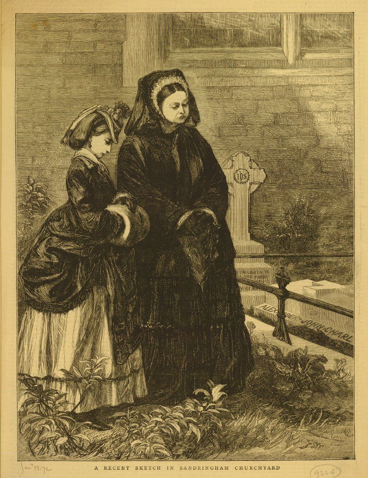 Portrait of Queen Victoria with a Royal Princess standing in churchyard; both dressed in mourning, the Queen holds handkerchief and wears veil; the Princess with hat and muff; standing next to grave of Prince John, son of Prince of Wales; illustration from unknown publication (1872).Wood engraving
