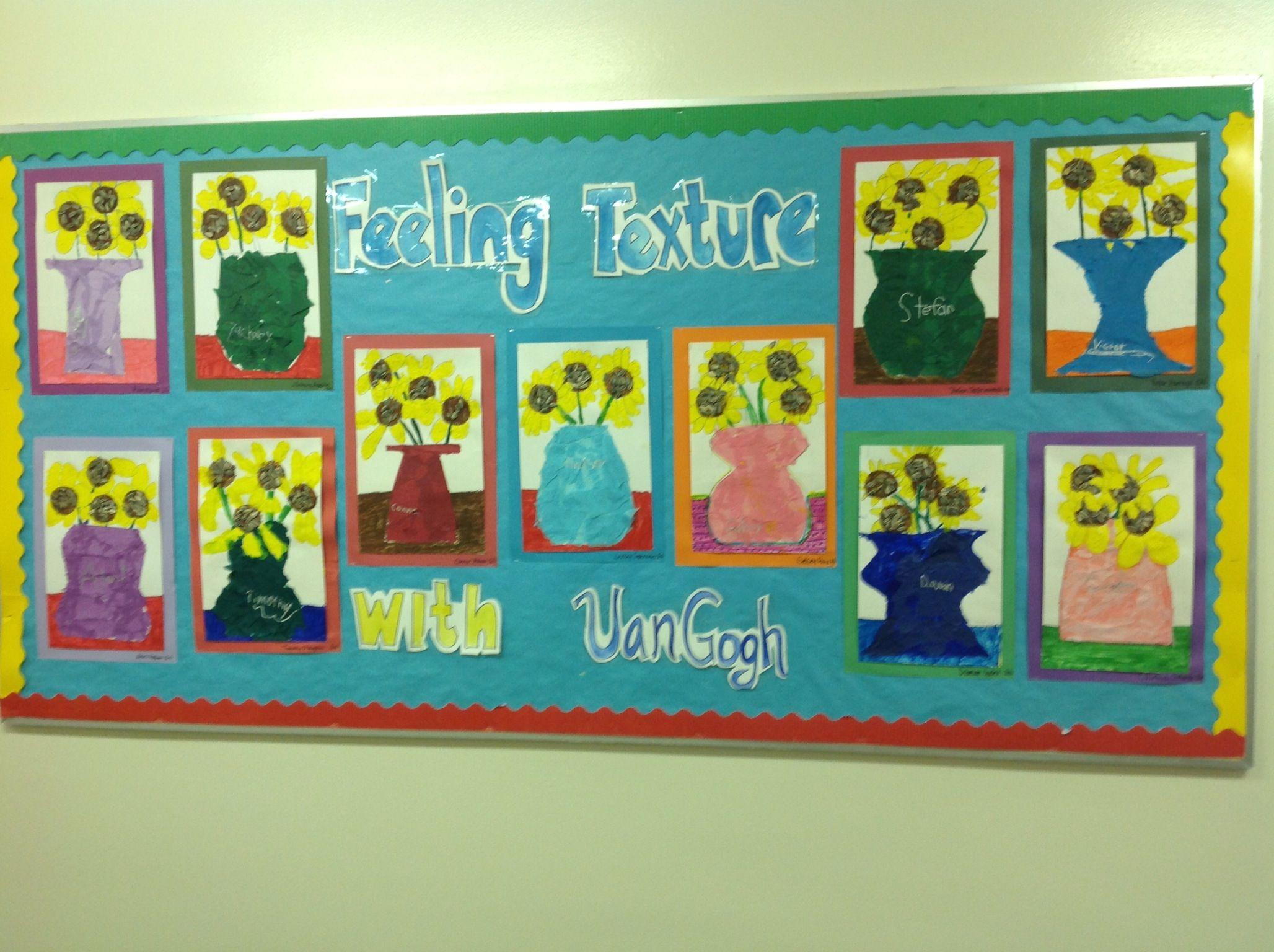 Van Gogh First Grade Textured Sunflowers Art Lesson Plan