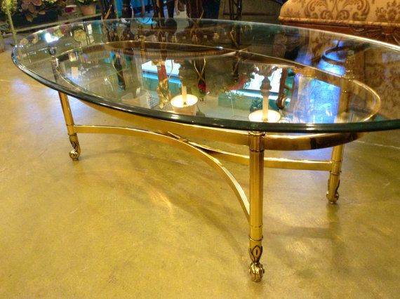 Hollywood Regency Brass U0026 Glass LaBarge Style Coffee Table, Mid Century Vintage  Brass, Large Oval Glass Top, Chinoiserie Furniture Mad Men