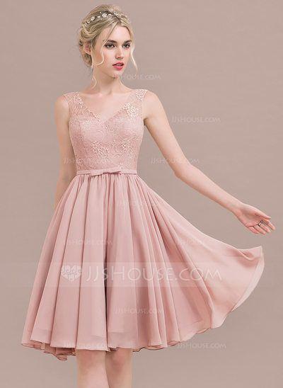 7903f3c9f  US  92.49  A-Line Princess V-neck Knee-Length Chiffon Lace Bridesmaid  Dress With Bow(s)