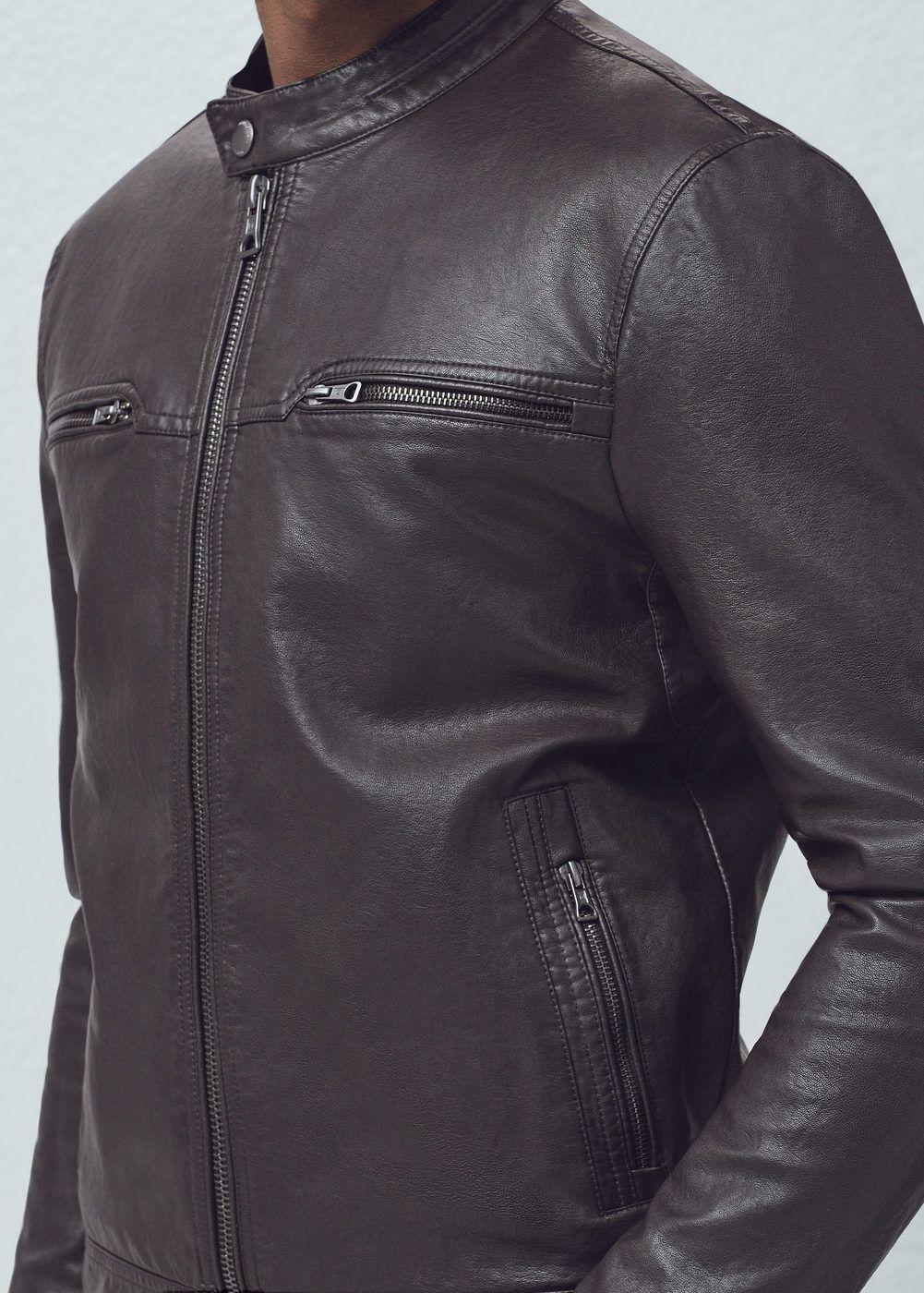 Zipped biker jacket -  Man   MANGO
