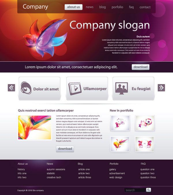 Simple web design template vector material two | Research Website ...