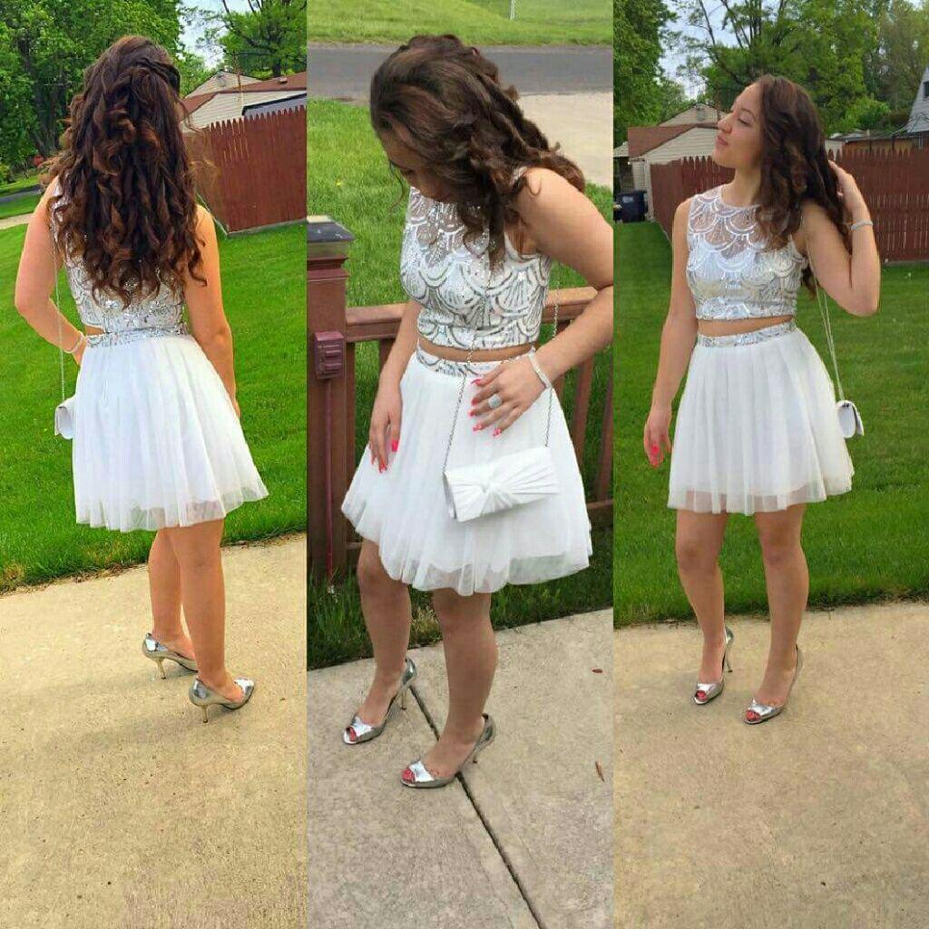 Dress 2 Pc Size 5/6 Beautiful Silver And White Win
