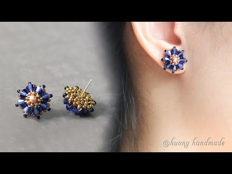 Photo of Moonlight beaded stud earrings. Simple and easy to make beaded jewelry