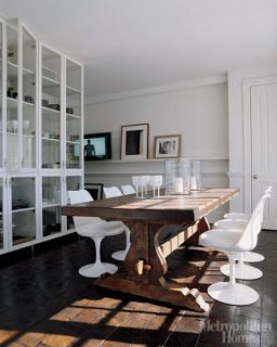 vincent wolf uses spanish trestle table with modern chairs rh pinterest com Farmhouse Table and Chairs Farm Table with Modern Chairs