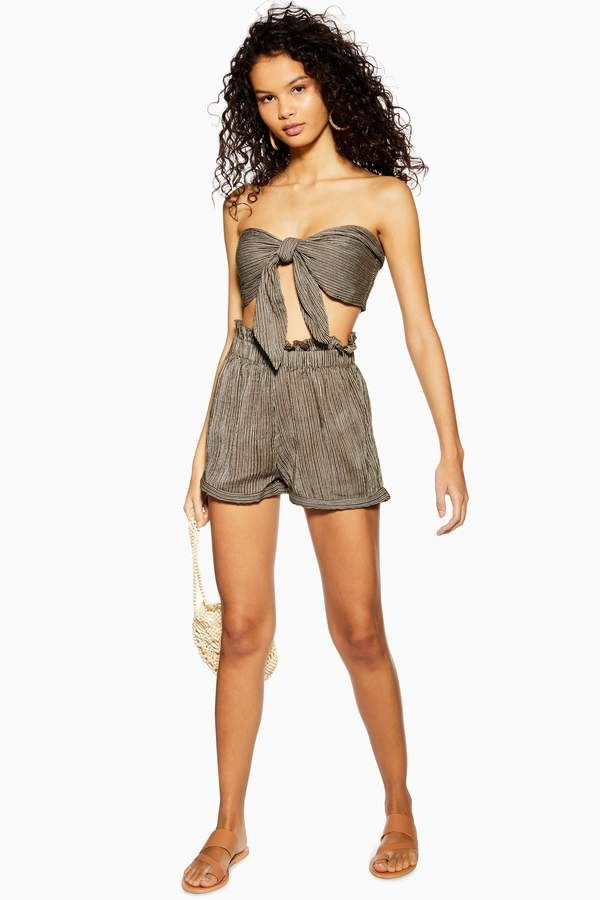 60fc168817 Topshop Khaki Tie Knot Bandeau and Shorts Co-Ord in 2019 | Products ...