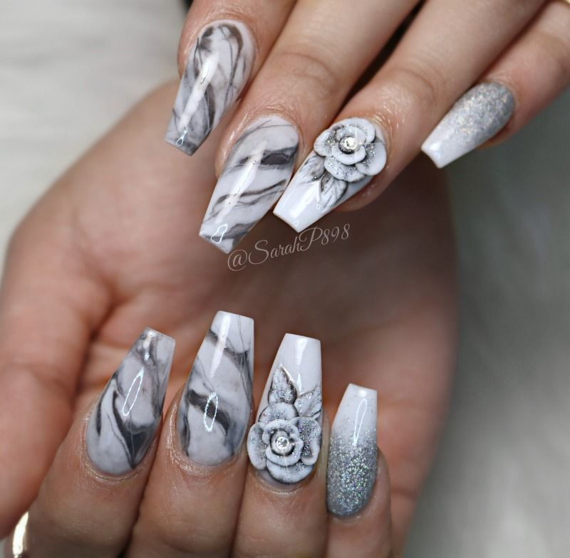 Watch Full Tutorial Marble Nails And 3d Roses Acrylicnails