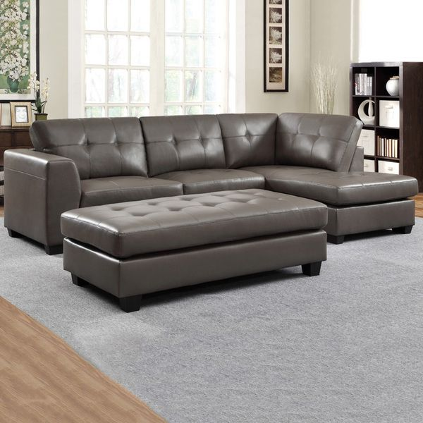Carmine Grey Bonded Leather Sectional With Chaise And ...