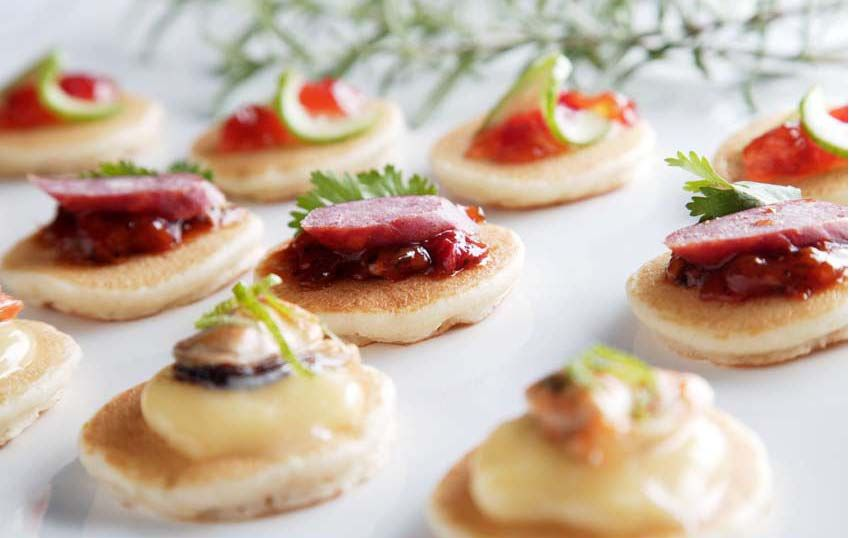 delightful savoury blinis platter tomato and olive