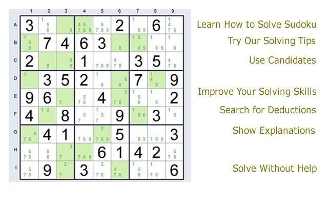 SudokuSolver provides solving tips, explanations, free sample