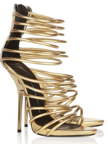 gold strappy high heel sandals