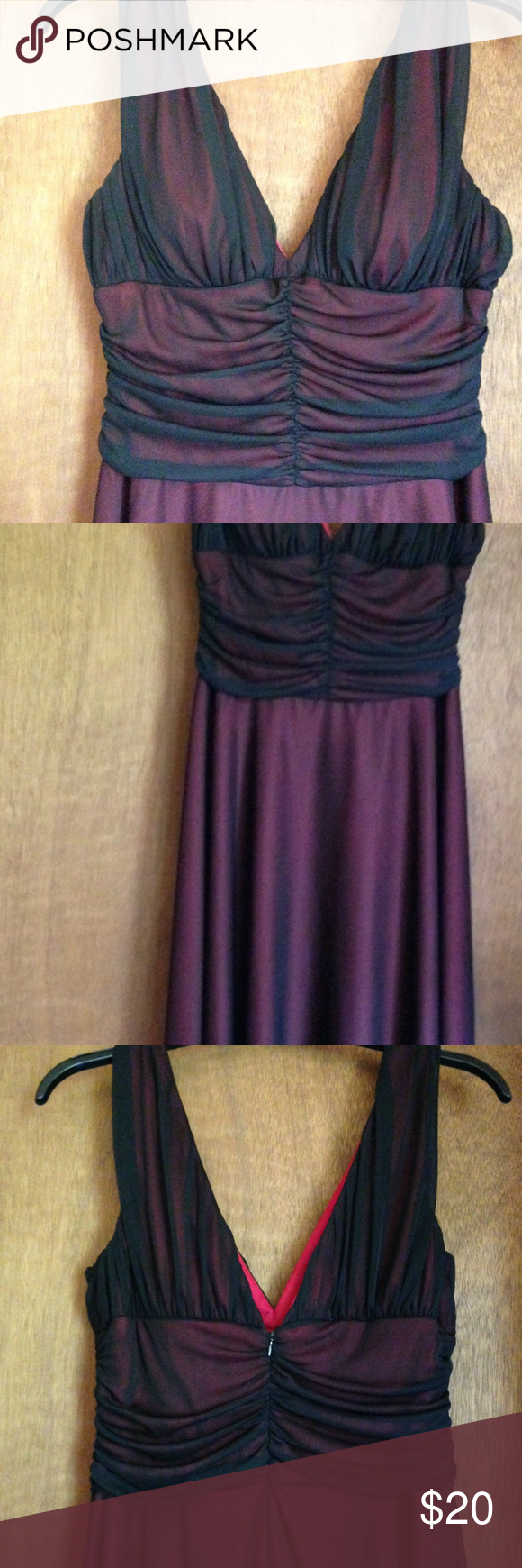 Dress Barn plus size holiday dress in black w/ red