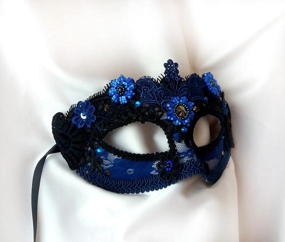 Navy Blue Masquerade Mask with Lace and Rhinestones, Venetian Mask, Masquerade Ball Mask, Prom Mask, Mardi Gras Mask, Costume Party Mask