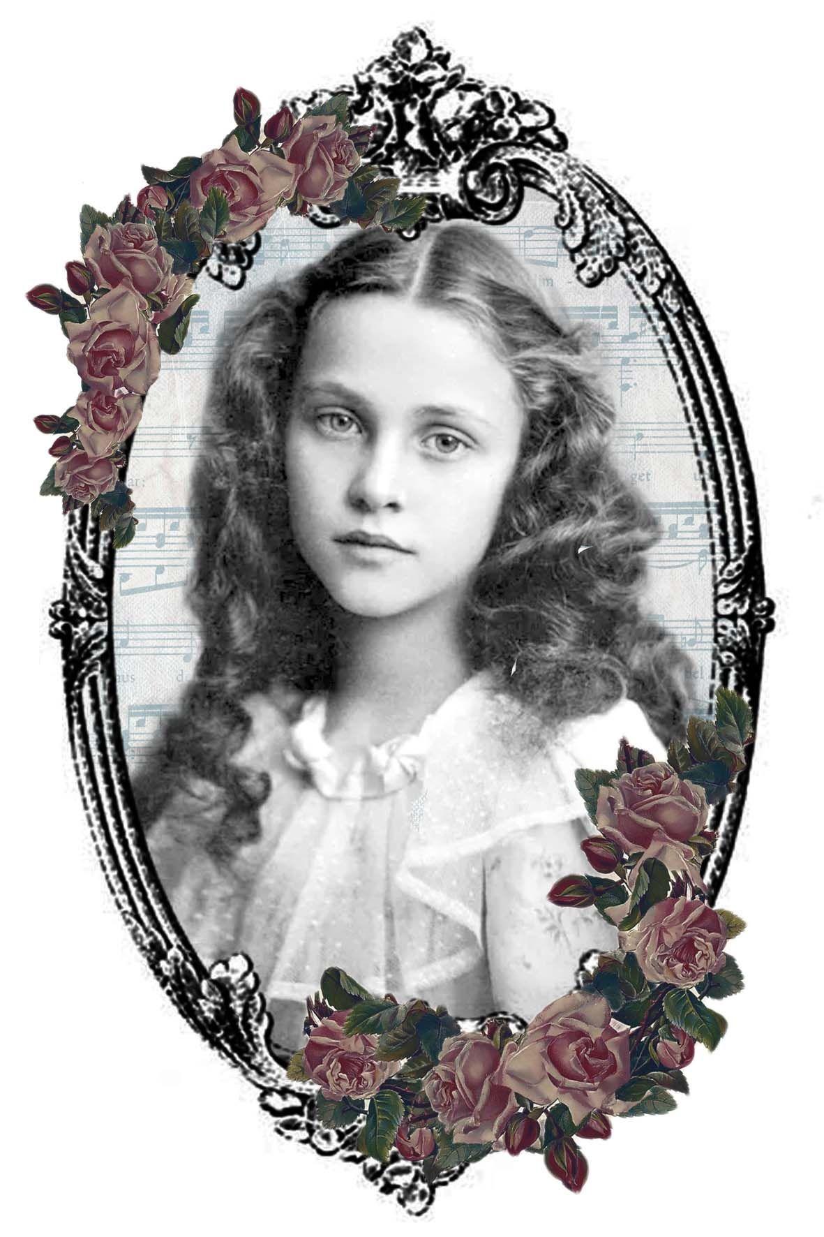 Beauty girl on oval frame