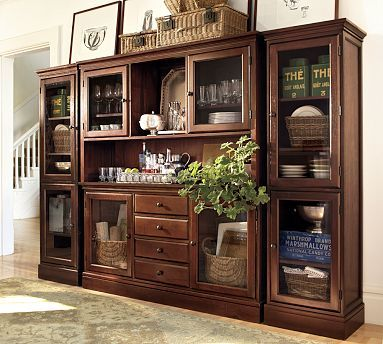Tucker Wall Unit 1 Buffet 1 Hutch & 2 Towers Mahogany Stain Cool Wall Units For Dining Room Inspiration