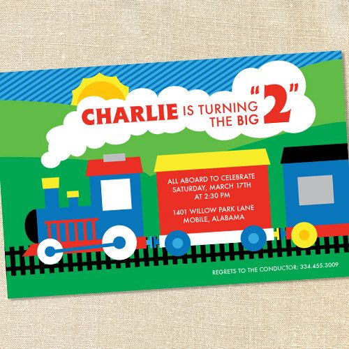 Boy's Train (Thomas & Friends?) Invitations for Birthdays & Baby Showers by Sweet Wishes Stationery