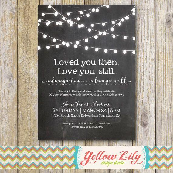 Vow Renewal Invitation Chalkboard Marriage Festoon Lights Twinkle Rustic InvitationsAnniversary Invitations50th