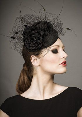 Luxury fascinators and milineries R13W17 - Black silk taffeta pillbox with  silk flowers and chopped coque f00aba8cea1