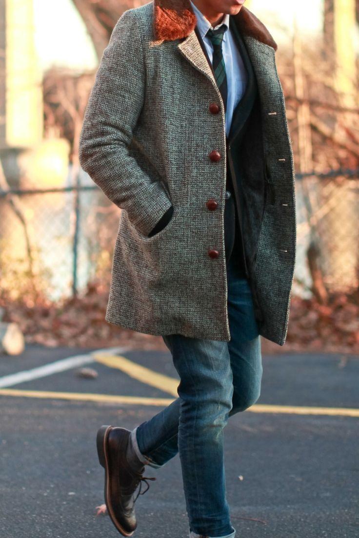 Men's Charcoal Fur Collar Coat, Black Blazer, Light Blue ...