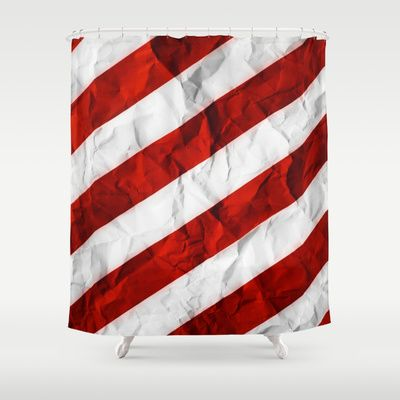 Crumbled Red Stripes Shower Curtain by Nicklas Gustafsson - $68.00