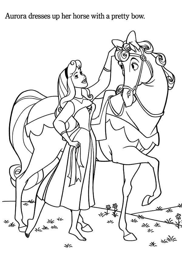 Princess Aurora Love Her Horse Coloring Page