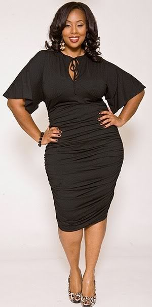 A fun and flirty bodycon dress  with flared sleeves. on The Fashion Time  http://thefashiontime.com/perfect-plus-size-little-black-dress-every-occasion/#sg19