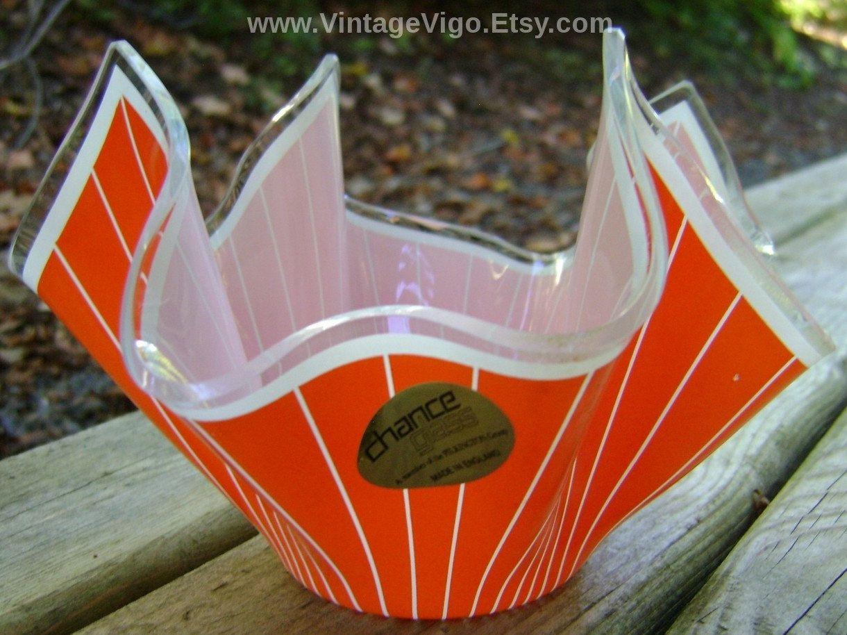 Vintage Vase Handkerchief Glass Vases Bowl Orange White