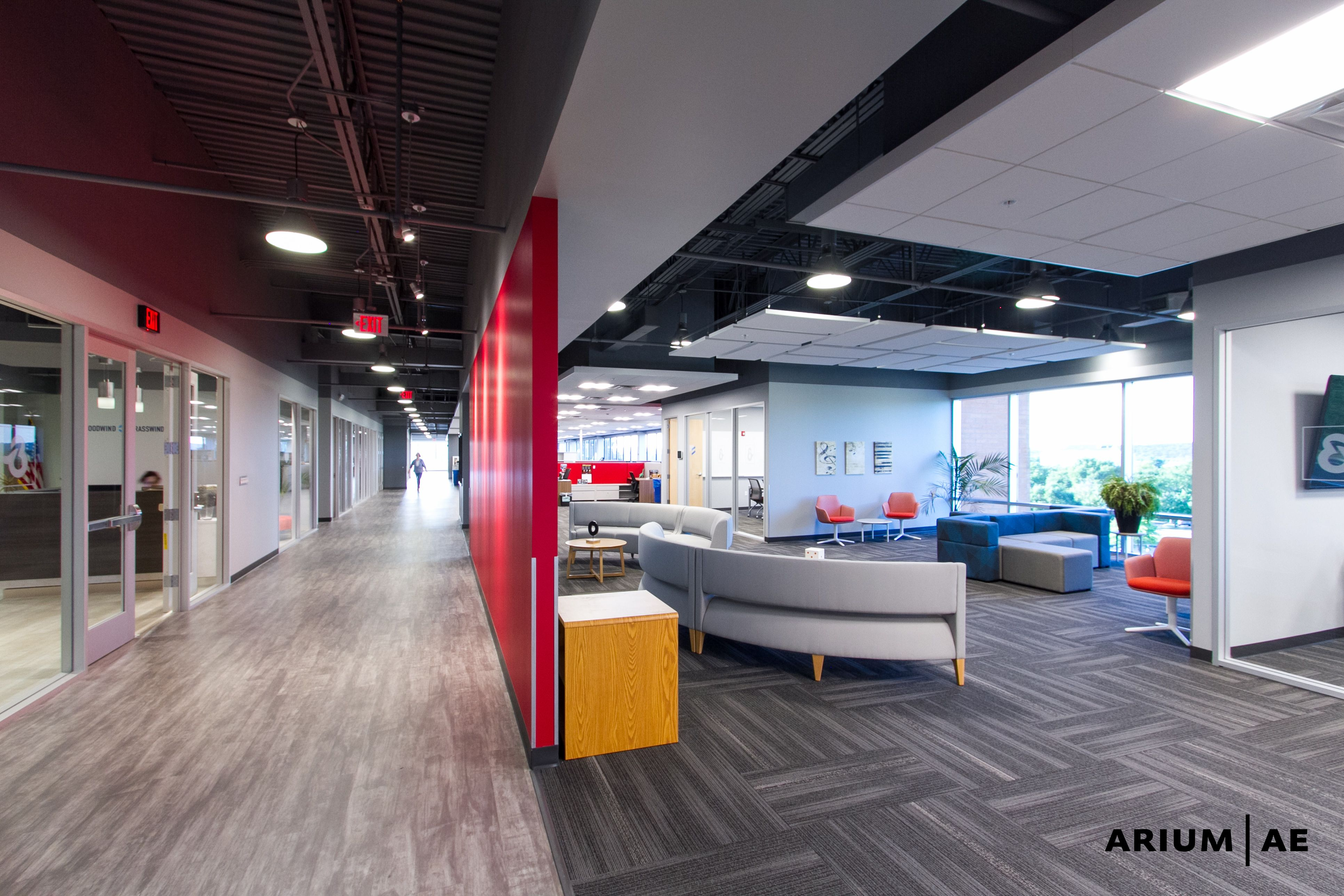 Office space corridor, open office, seating area, ceiling
