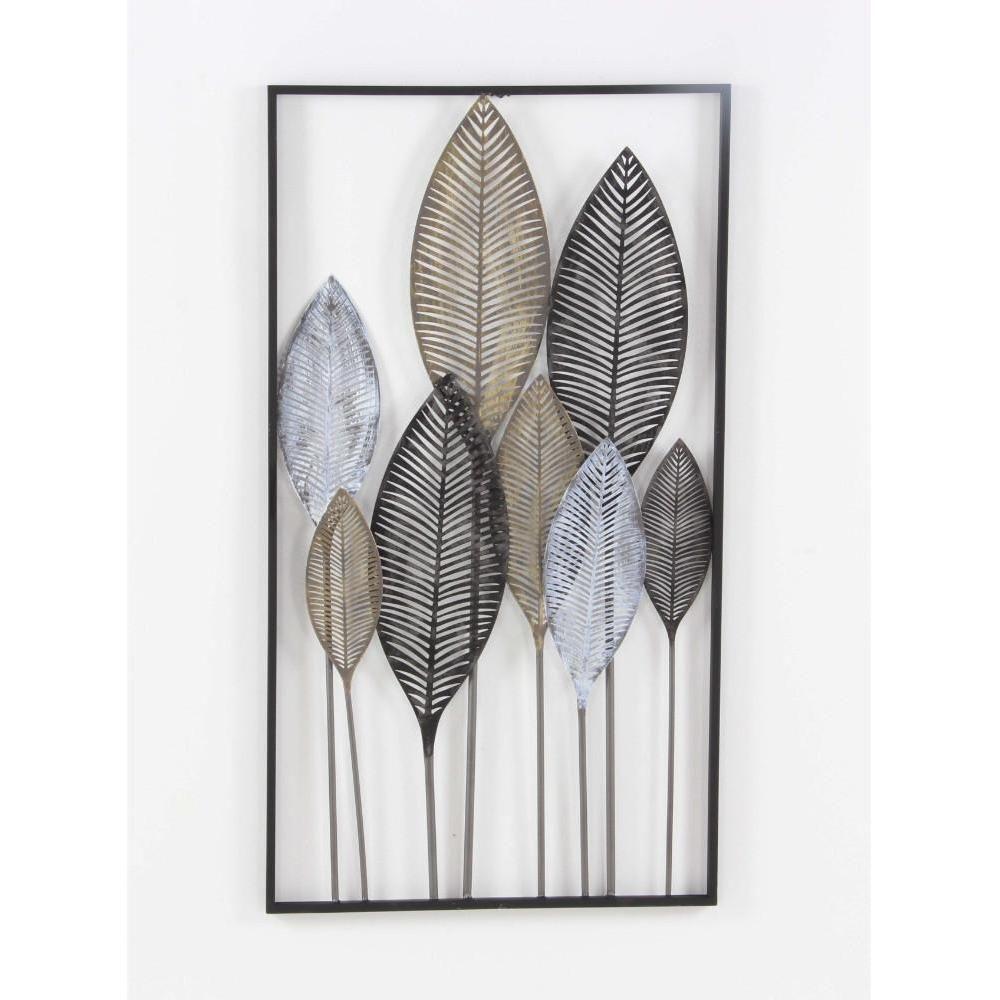 Classy Metal Leaf Wall Decor, Multicolour