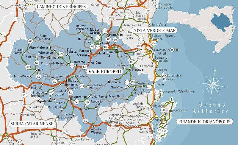 Mapa Do Vale Europeu Santa Catarina Viagens Viagem Turismo E