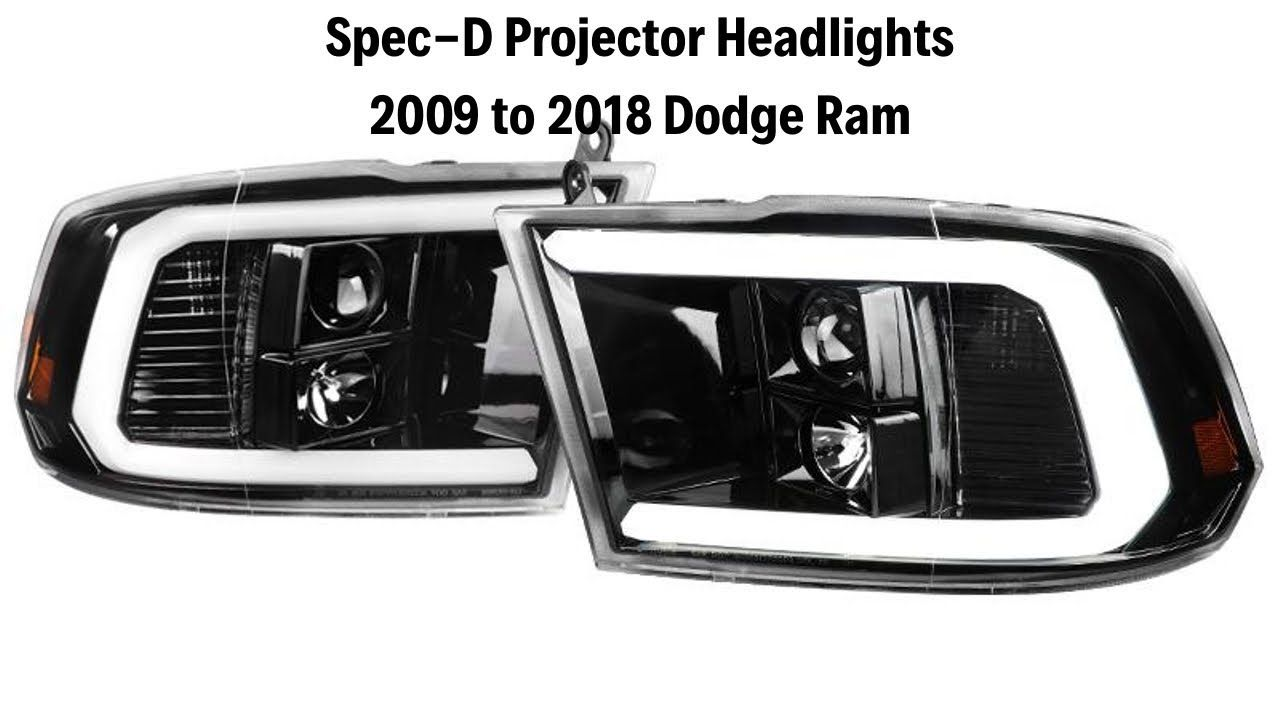Spec D Projector Headlights Dodge Ram C Bar Led Black Or Chrome For 0 Dodge Ram Projector Headlights Dodge