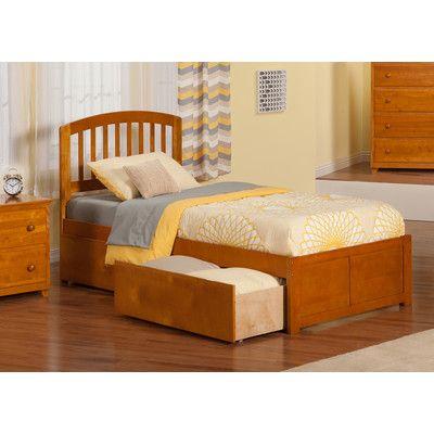 Viv + Rae Timmy Extra Long Twin Slat Bed with Storage Finish: Caramel Latte