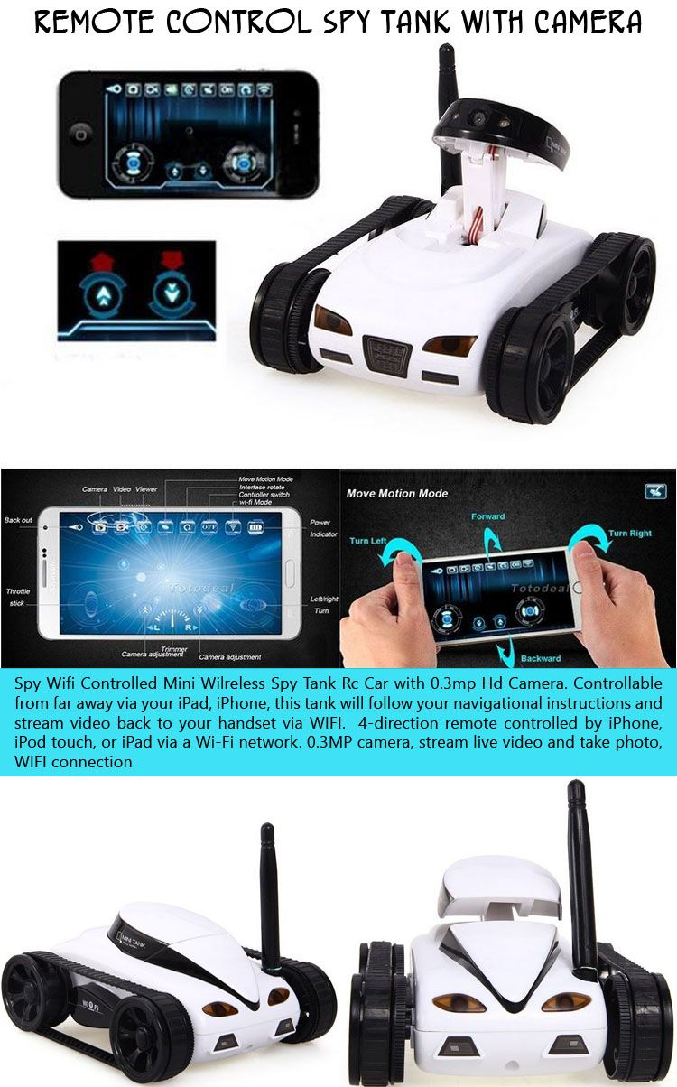 A wifi-controlled mini wireless spy tank radio-controlled car with 0.3mp HD Camera, controllable from far away via your iPad or iPhone. This tank will follow your navigational instructions and stream video back to your handset via WIFI! Clever. $65.00.