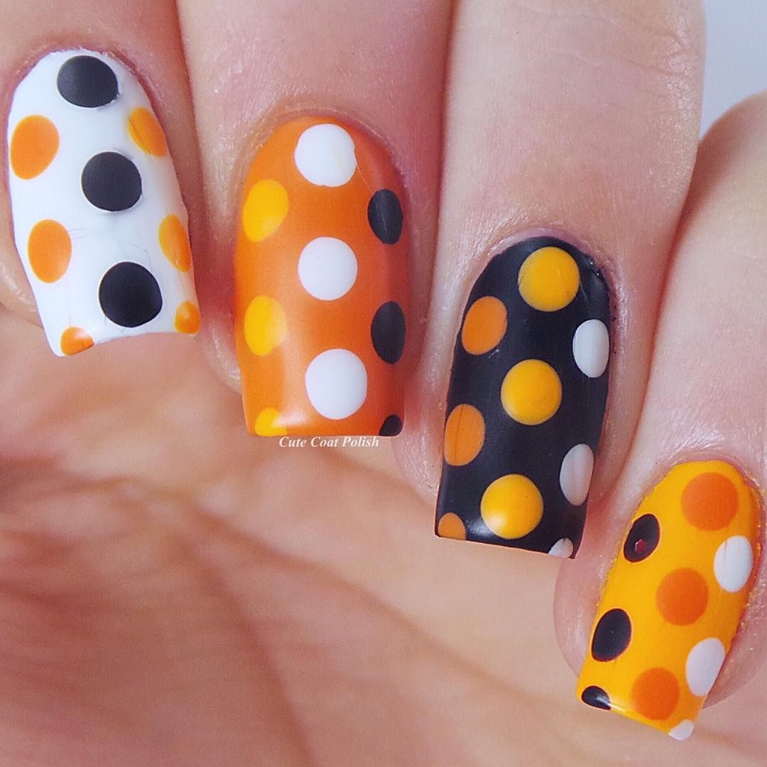 Pumpkin Polka Dots | Halloween nails, Polka dot nails ...