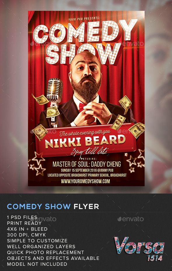 Comedy Show Flyer Pinterest Flyer template, Print templates and
