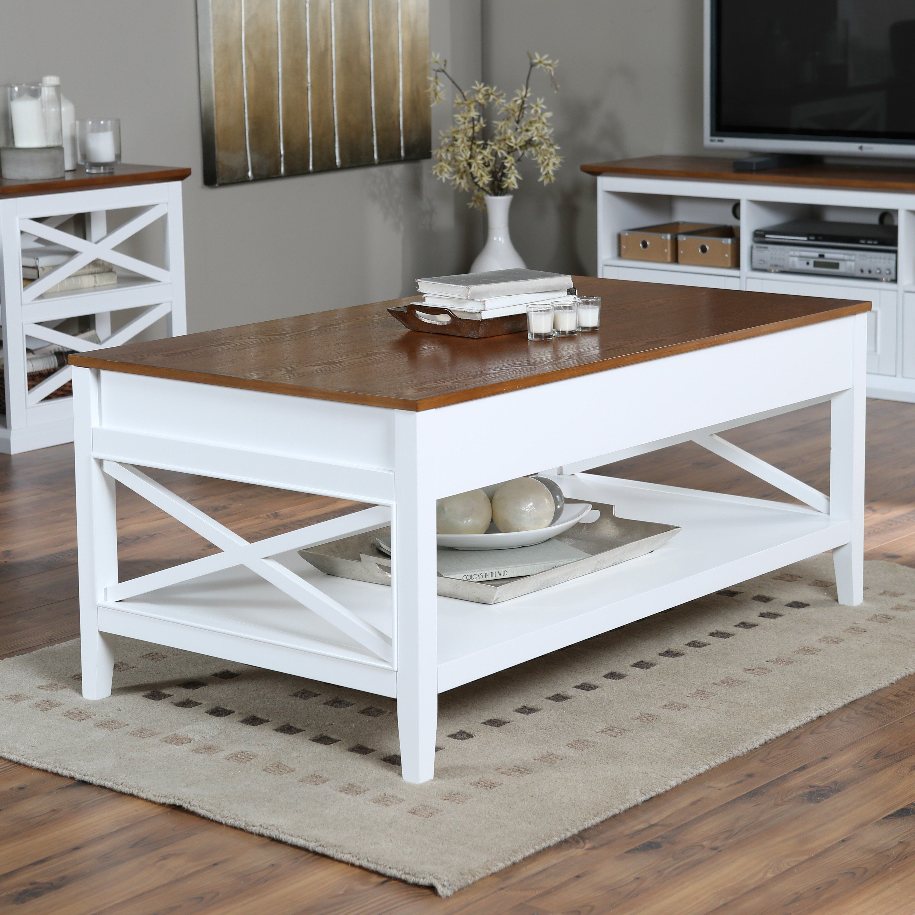 Best Belham Living Hampton Lift Top Coffee Table White Oak 400 x 300