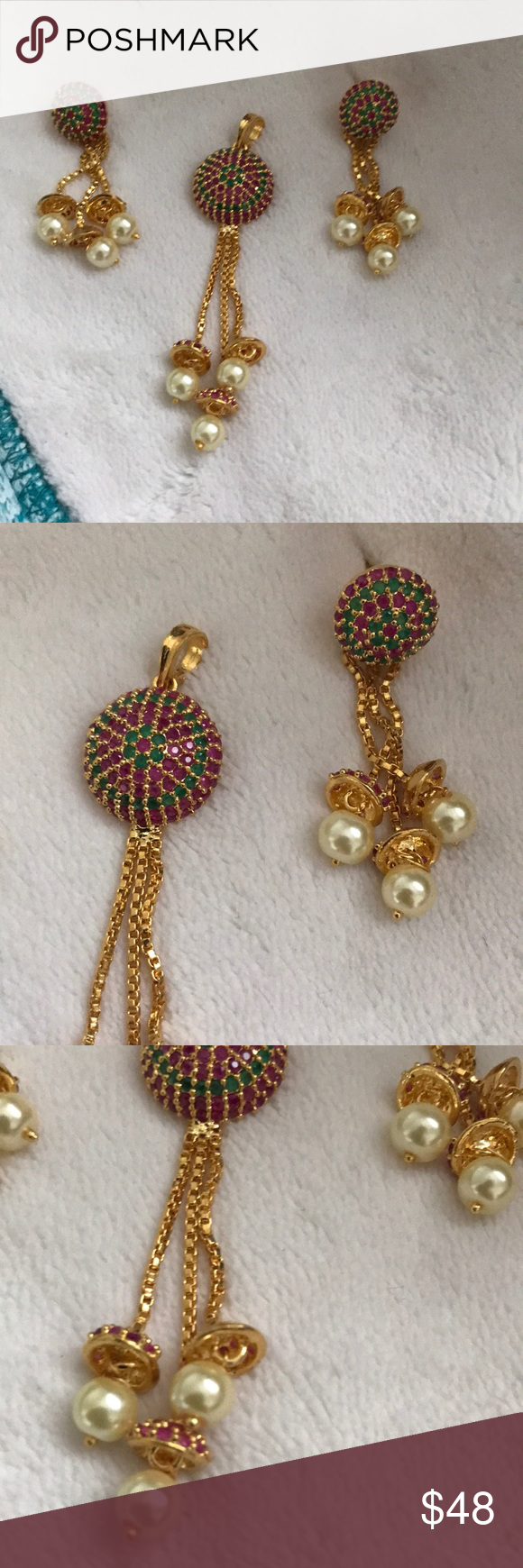 Ct gold ruby pendant and earrings set indian ct gold pendant set