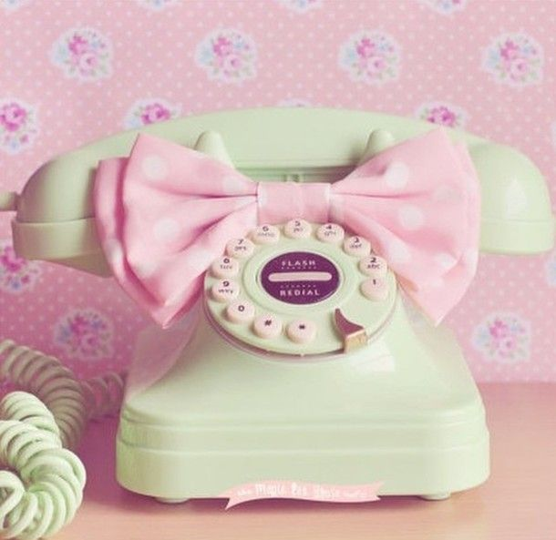 Home Accessory Vintage Phone Green Pink Pastel Bow Cute Girly