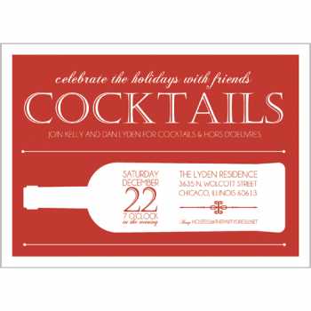 Christmas Wine Cocktail Party Invitation